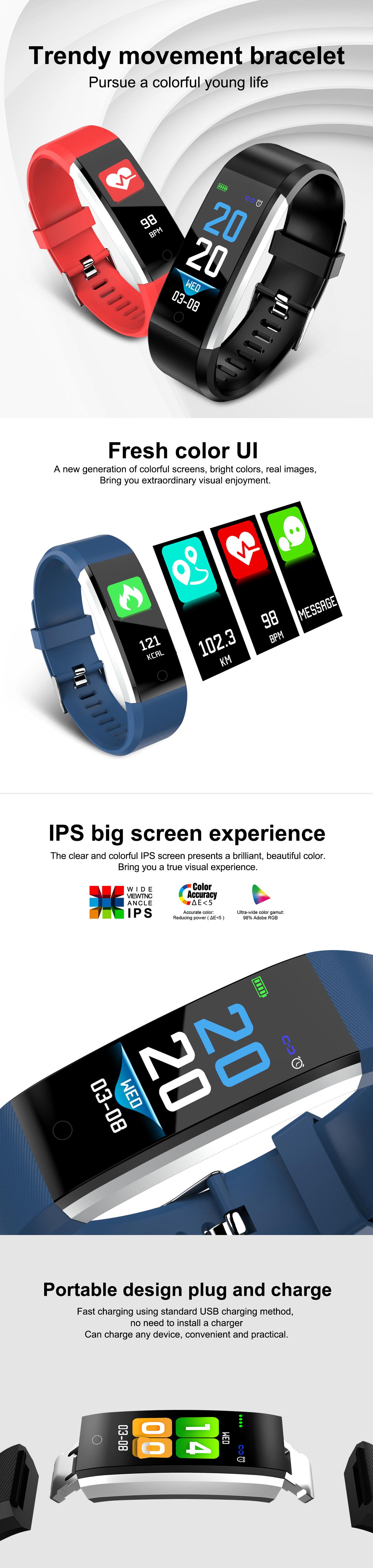 Bakeey ID115 PLUS 2 Color UI Display Smart Watch Blood Pressure Oxygen  Monitor Sport Tracker Watch