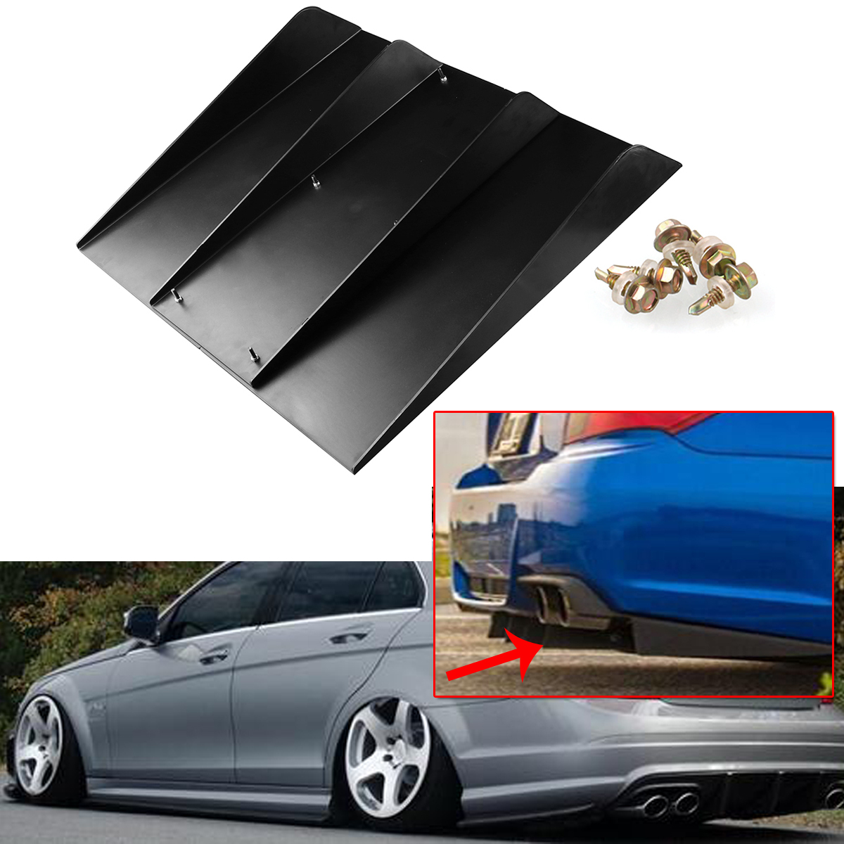 "22/"" x 21/"" ABS Universal Rear Bumper 4 Fins Diffuser Fin Canards Black For Chevy"