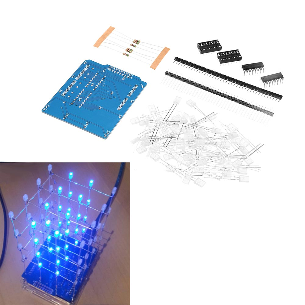 3D 4x4x4 Light Cube kit Squared Spectrum Blue LED Electronic DIY Kits With shell