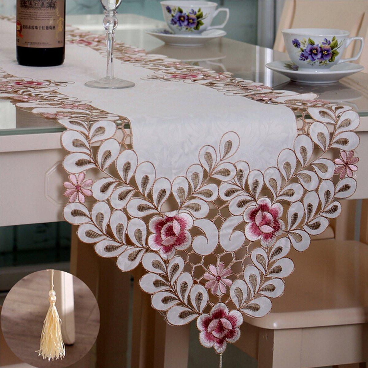 Четыре размера пастырской бегун стол цветок скатерть свадьба домой декоративный коврик