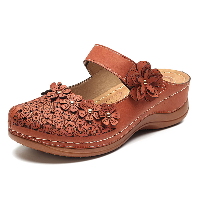 57594d8cda9ac LOSTISY Flowers Pattern Sandals Hollow Out Soft Sole Shoes