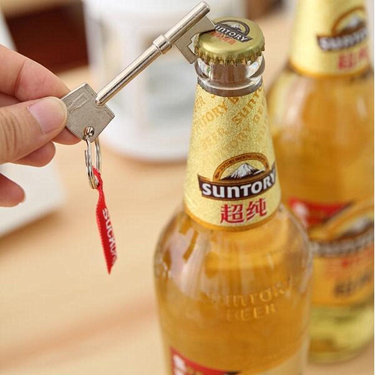 Key Shaped Bottle Opener Ring Keyring Chain Keychain Metal Beer Bar Tool