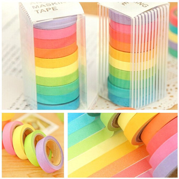 10 Rolls Rainbow Paper Tapes Adhesive Sticker Candy Col