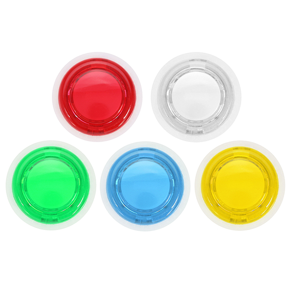 24mm Clear LED Light Push Button White Ring for Arcade Game Console Controller