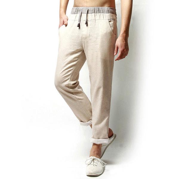 Полотняные Сплошной цвет Повседневные свободные мужские длинные брюки Льняные спортивные штаны фото