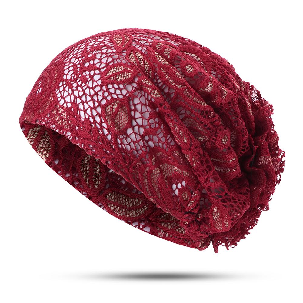 Женское Цветочная полая кружевная шапочка Шапка Этническая тюрбанская шапочка Chemo