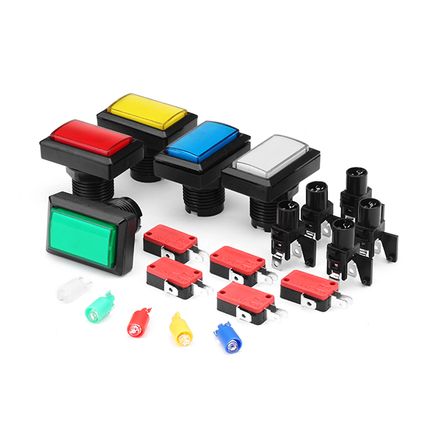 50x33MM Rectangle Red Blue Green Yellow White LED Push Button for Arcade Game Console Controller DIY