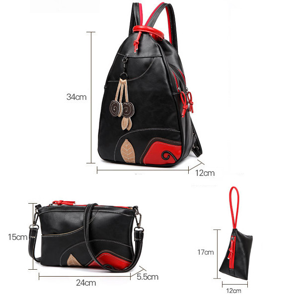 Chinese Style Black Chest Bags Backpack 3 Pcs Casual Crossbody Bags National Cluthes Bags