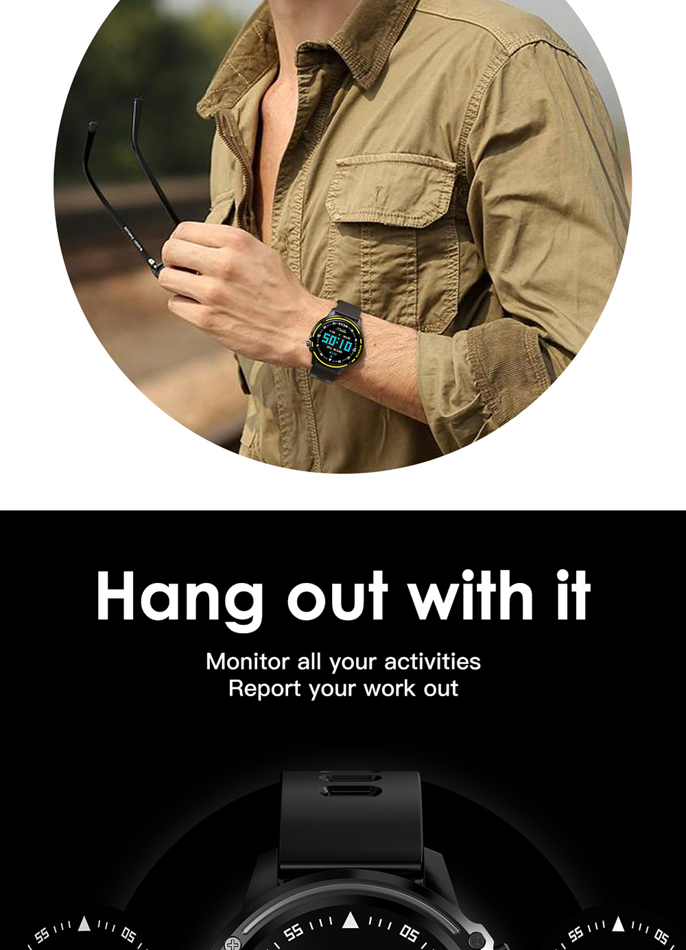 Microwear L8 Full Touch Screen ECG+PPG O2 IP68 Sports Mode bluetooth Music Control Weather Smart Watch