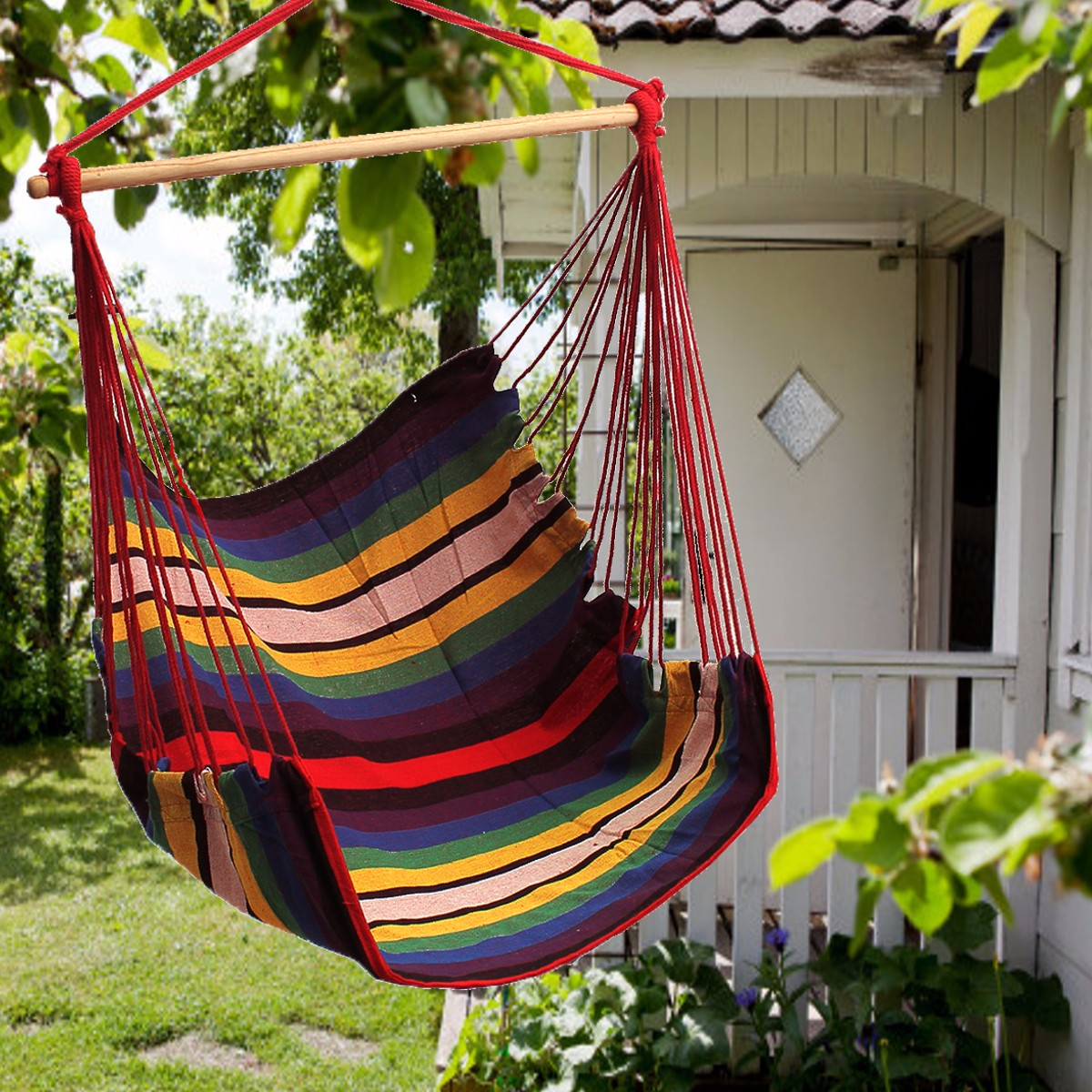 Garden Patio Hanging Thicken Hammock Chair Indoor Outdoor Cotton Swing Cushion Seat