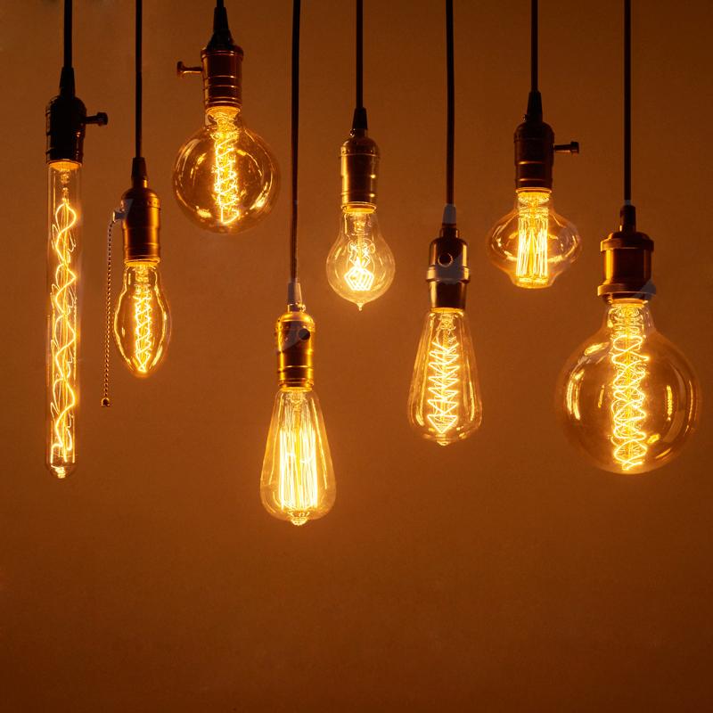 Винтаж Лампочки Эдисона E27 40Вт / 60Вт AC 220В Лампа накаливания Лампа Ретро лампа накаливания