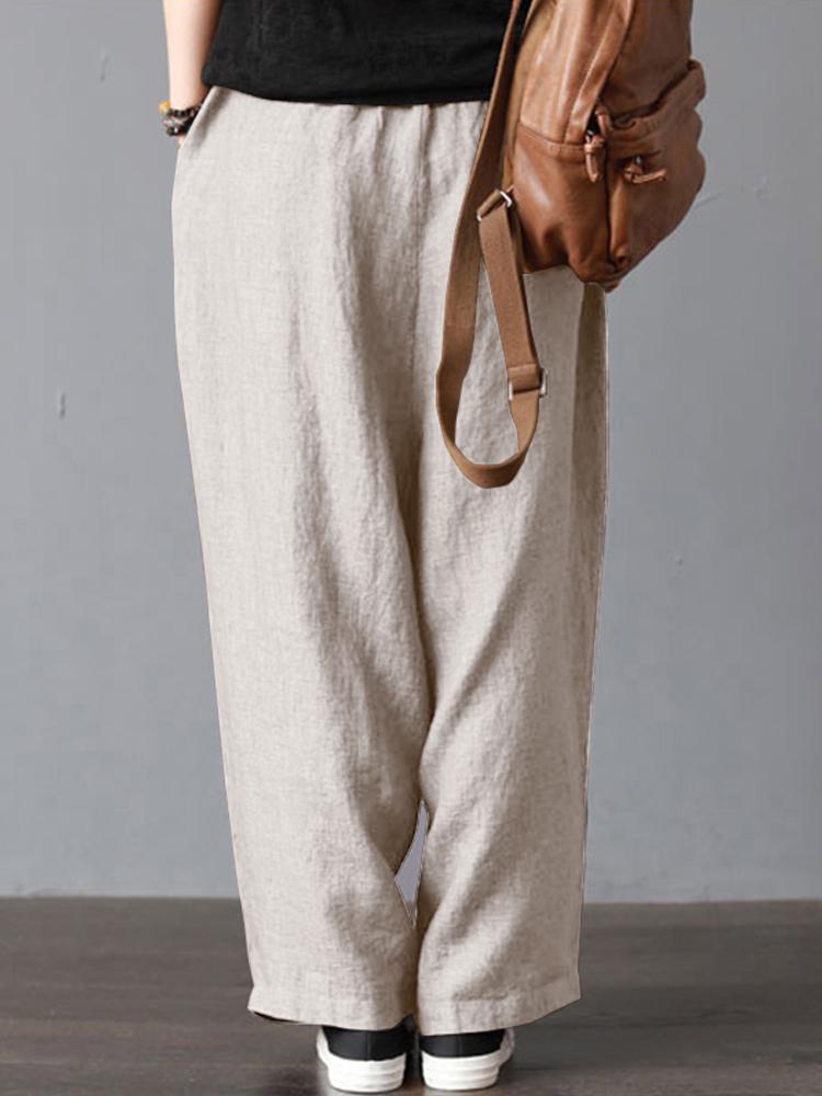 Women High Elastic Waist Loose Solid Wide Leg Pants
