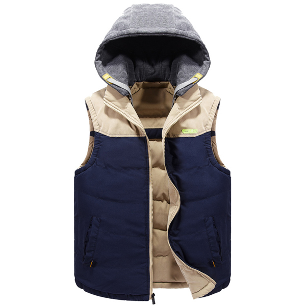 e0509d7fbbc Mens Winter Vest Double Sided Wear Casual Hooded Fashion Contrast Color  Sleeveless Coat
