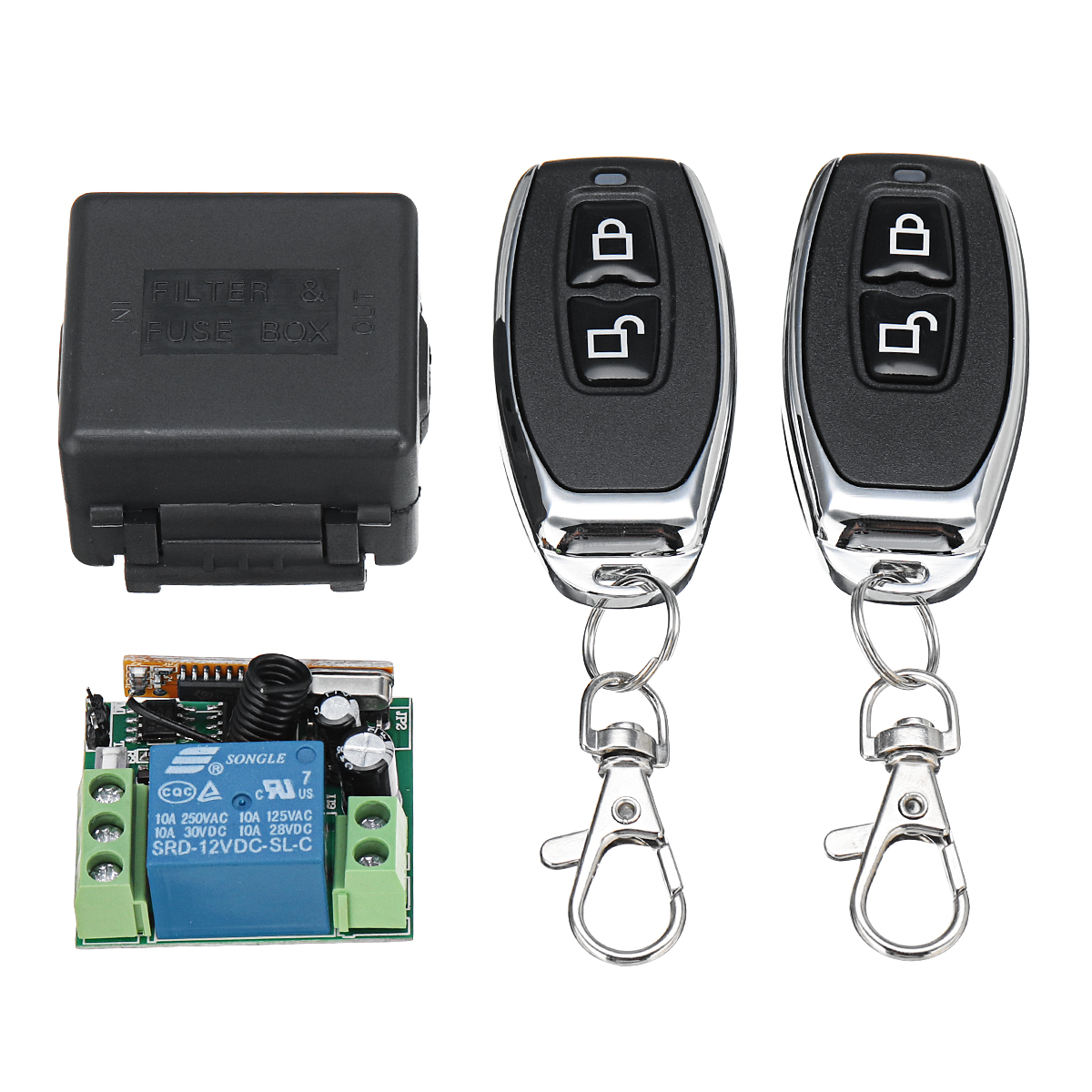 433Mhz DC12V 1CH Wireless Remote Control Switch Relay Receiver Module + 2 RF Transmitter