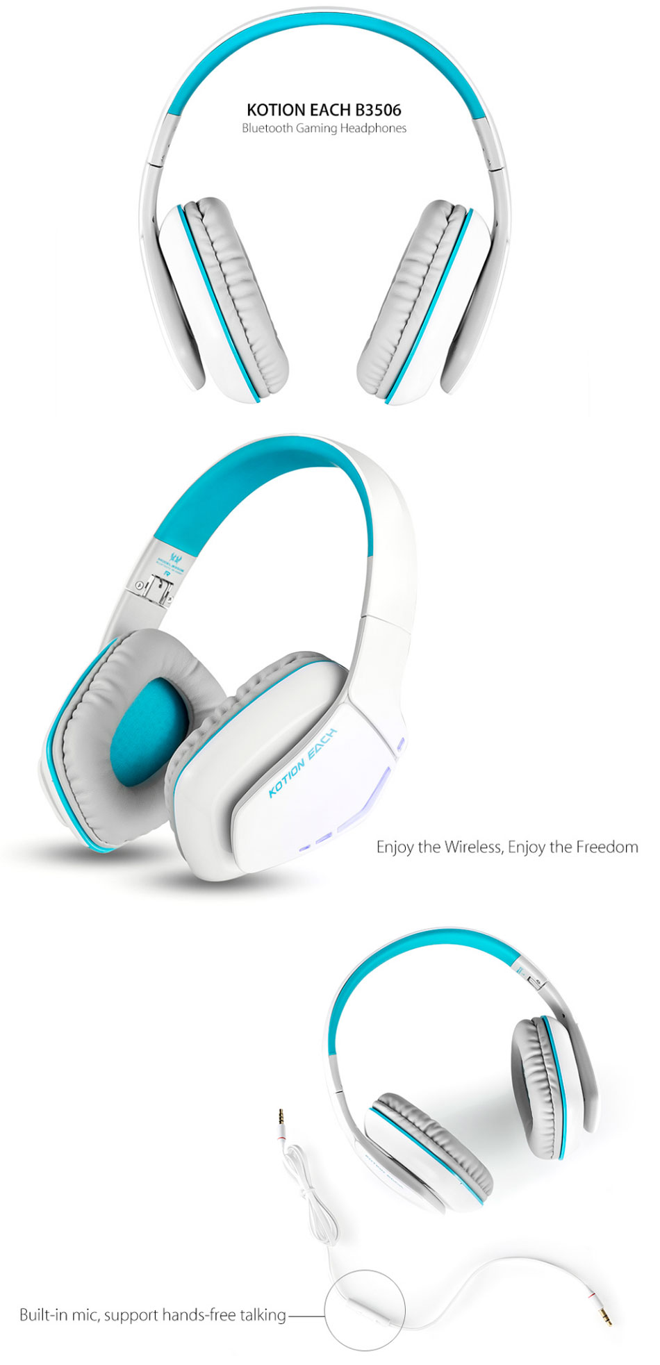 0c568044cae kotion each b3506 wireless bluetooth headset foldable gaming cuffie ...