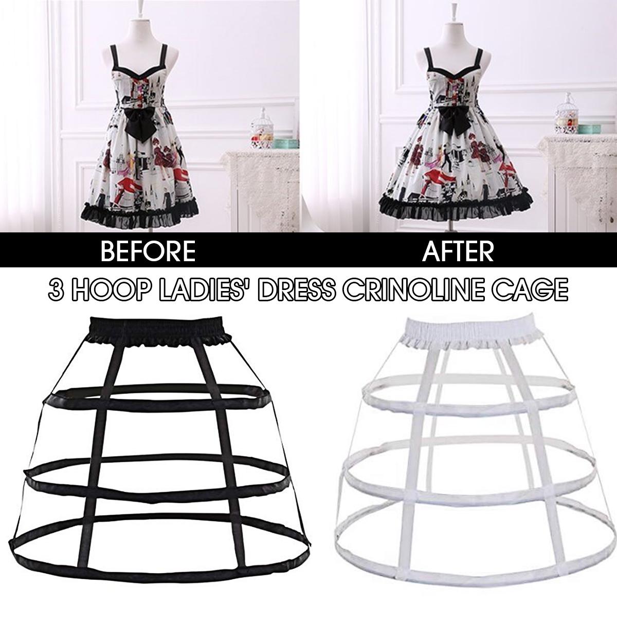 Adjustable Crinoline Hoop Cage Skirt Pannier Bustle Petticoat Underskirt  Costume