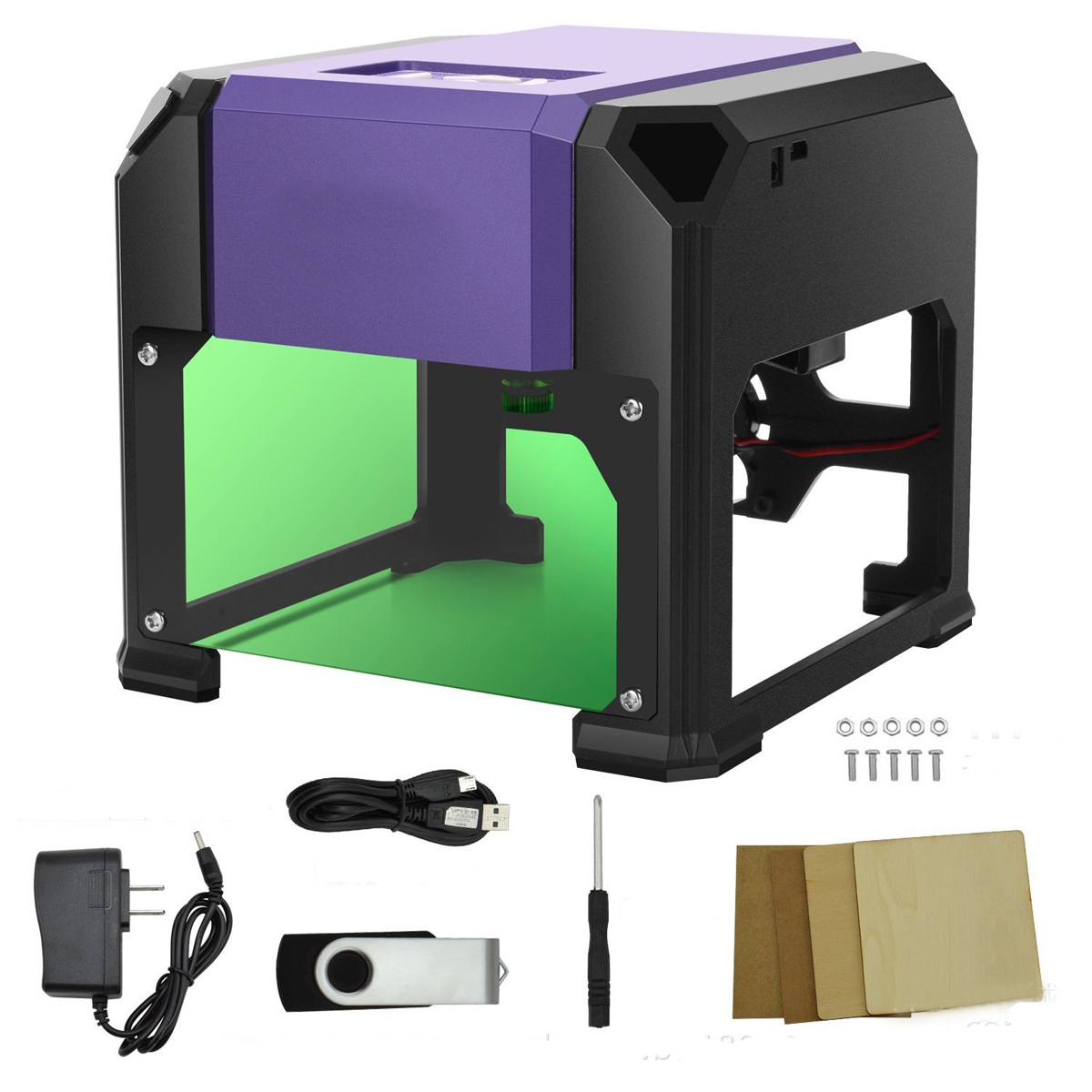 3000mW Purple DIY Laser Engraving Machine Desktop Logo Marking Engraver Mark Carver Printer 38