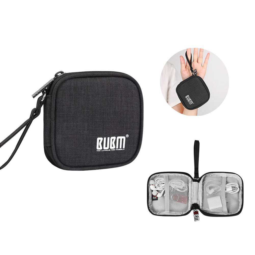 BUBM Travel Carrying Case for Small Electronics and Accessories Earphone Earbuds Cable Change Purse Protective Travel Pouch Bag