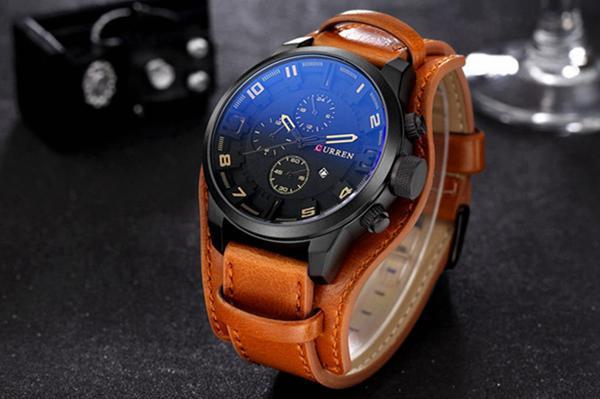CURREN 8225 Fashion Men Leather Strap Quartz Wristwatch