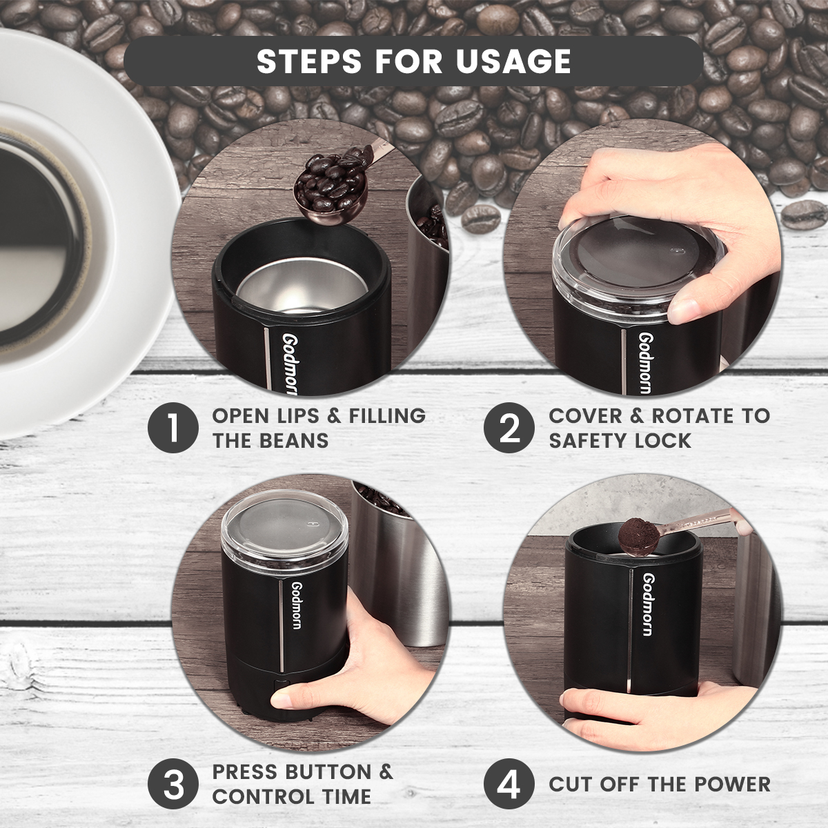Electric Coffee Grinder Espresso Grinder One Touch Multi-function Bean Grinder Auto Shut Off & Overheating Protection 16