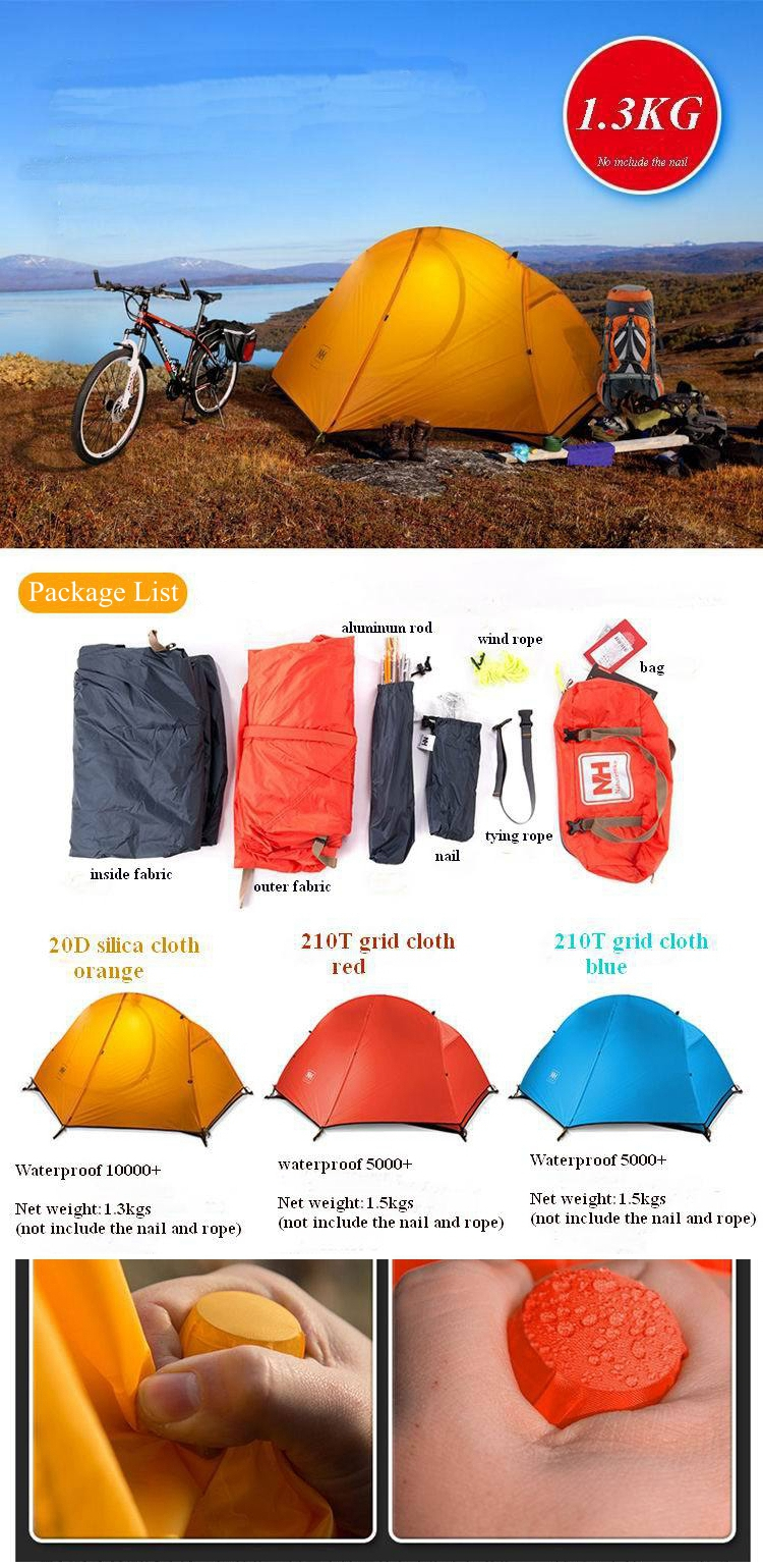 Naturehike NH18A095-D Outdoor Single Person Camping Tent Waterproof Double  Layer Sunshade Canopy