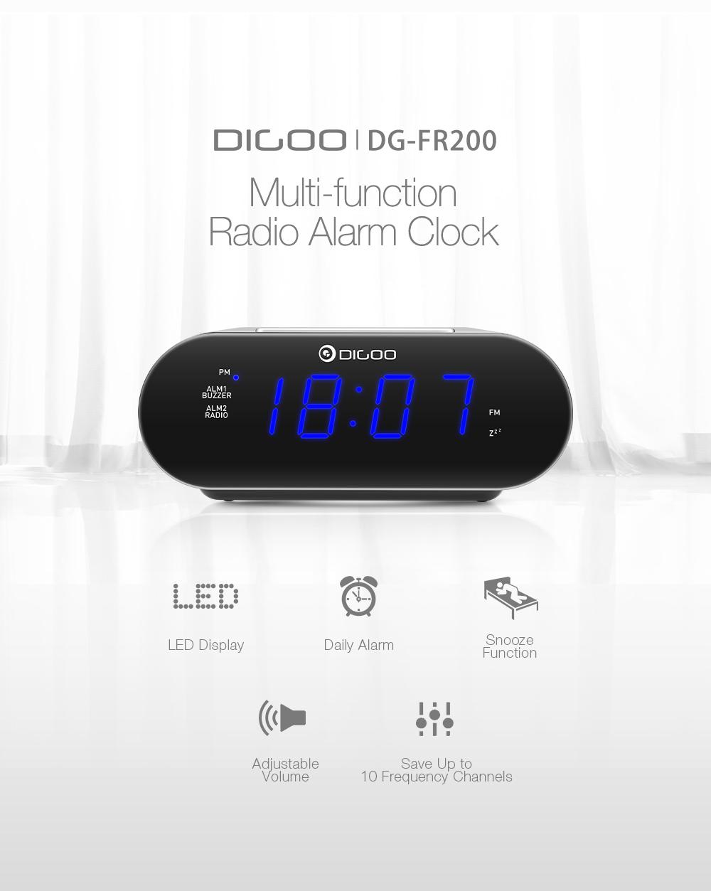 [2019 Third Digoo Carnival] DIGOO DG-FR200 Smart LED Digital Display Alarm  Clock with FM Radio Adjustable Volume Dual Daily Alarms