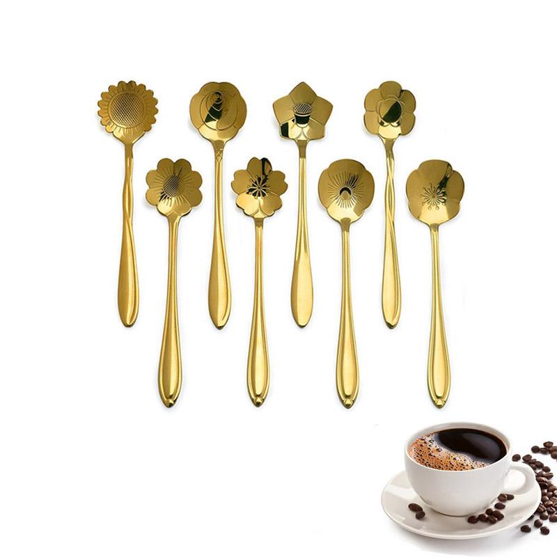 KCASA KC-FS04 Gold Flower Shape Stainless Steel Coffee Sugar Spoon Tea Spoon Ice Cream Tableware