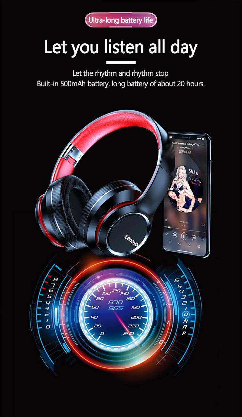 Lenovo HD200 Fold Headphone Wireless Bluetooth 5.0 With Noise Cancellation buy online in pakistan