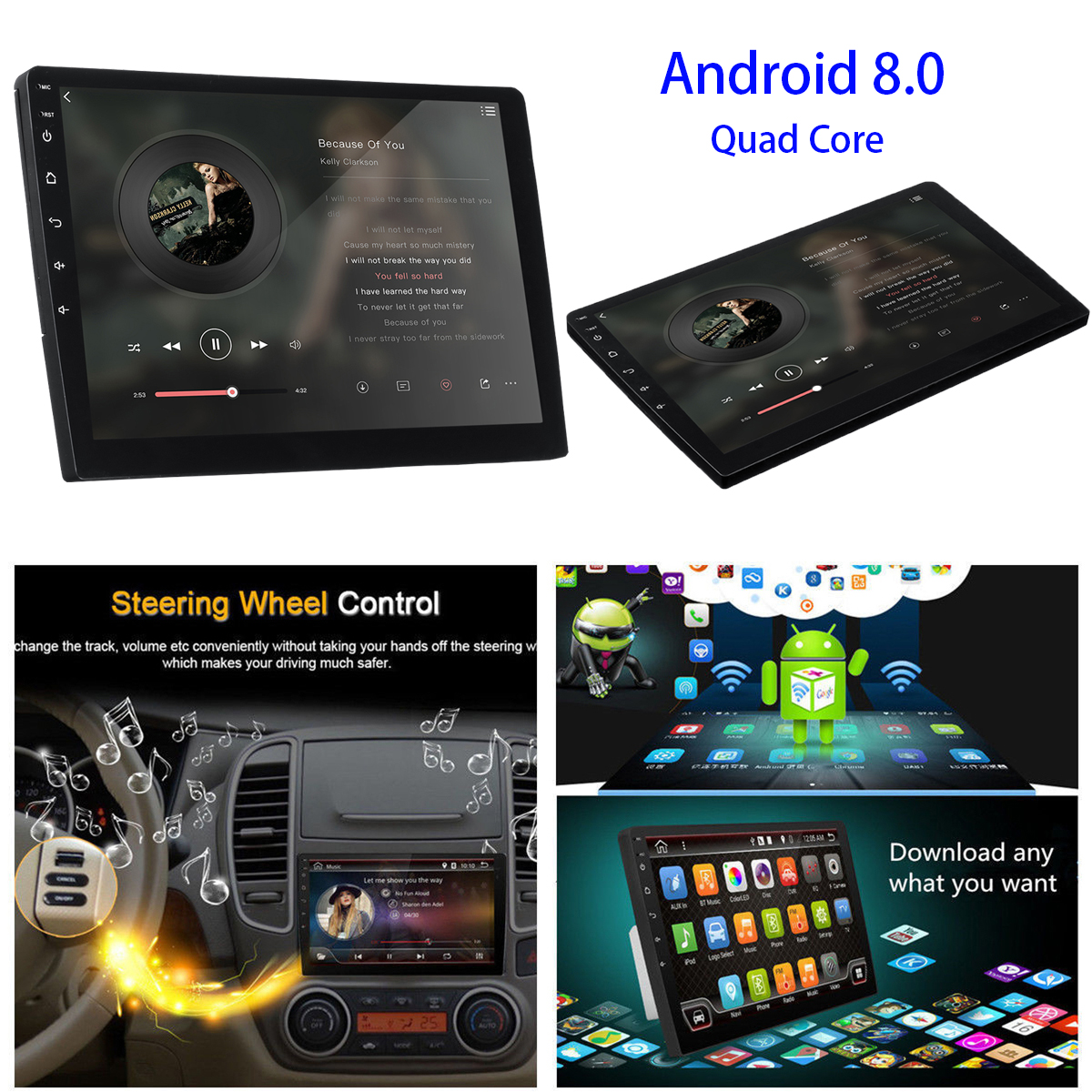 9 Inch 2 Din Car Stereo Radio Quad Core Android 8 0 Touch Screen