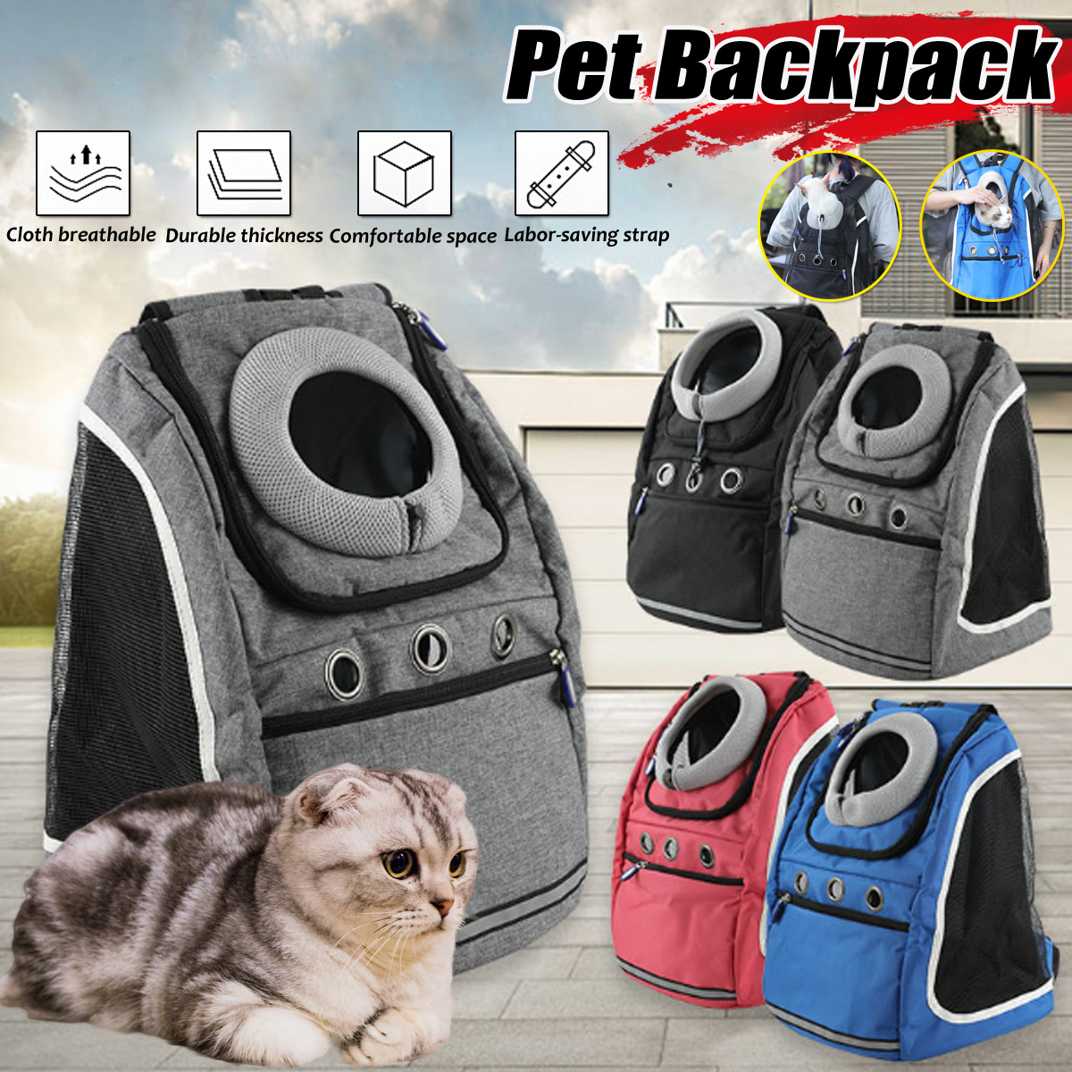 Oxford Cloth Pet Backpack Dog Cat Travel Breathable Shoulder Bag Carry Bag Max load 10/13kg