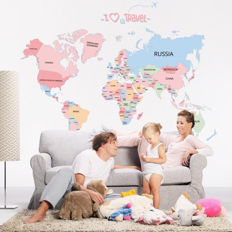 Цветные карты мира ПВХ стены стикеры Съемный Водонепроницаемы Офисная комната Спальня стены стикер