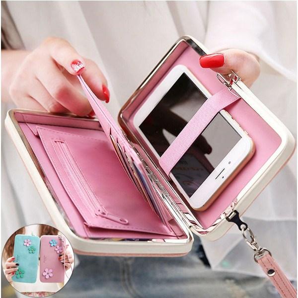 Women Flower 5.5 Inch Phone PU Wallet Case Cover Long Wallet