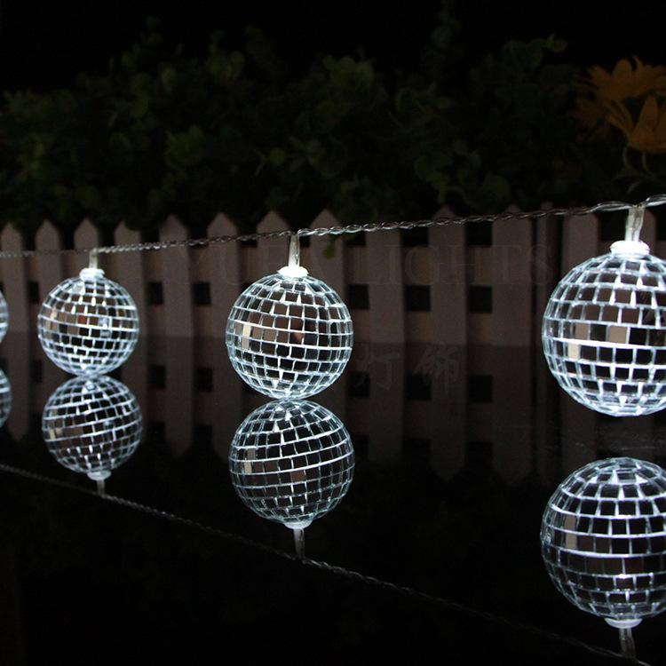 1.65M10LedsMirrorBallLight Светодиодный String Home Holiday Decor Disco Lights Party Hotel Бальные украшения String Lights Батарея Powered String Night Lights for Christmas Home Decorations