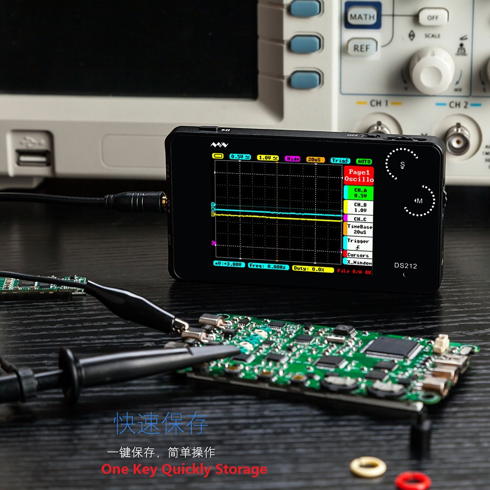 MINI DS212 Digital Storage Oscilloscope Portable Nano Handheld Bandwidth 1MHz Sampling Rate 10MSa/s Thumb Wheel