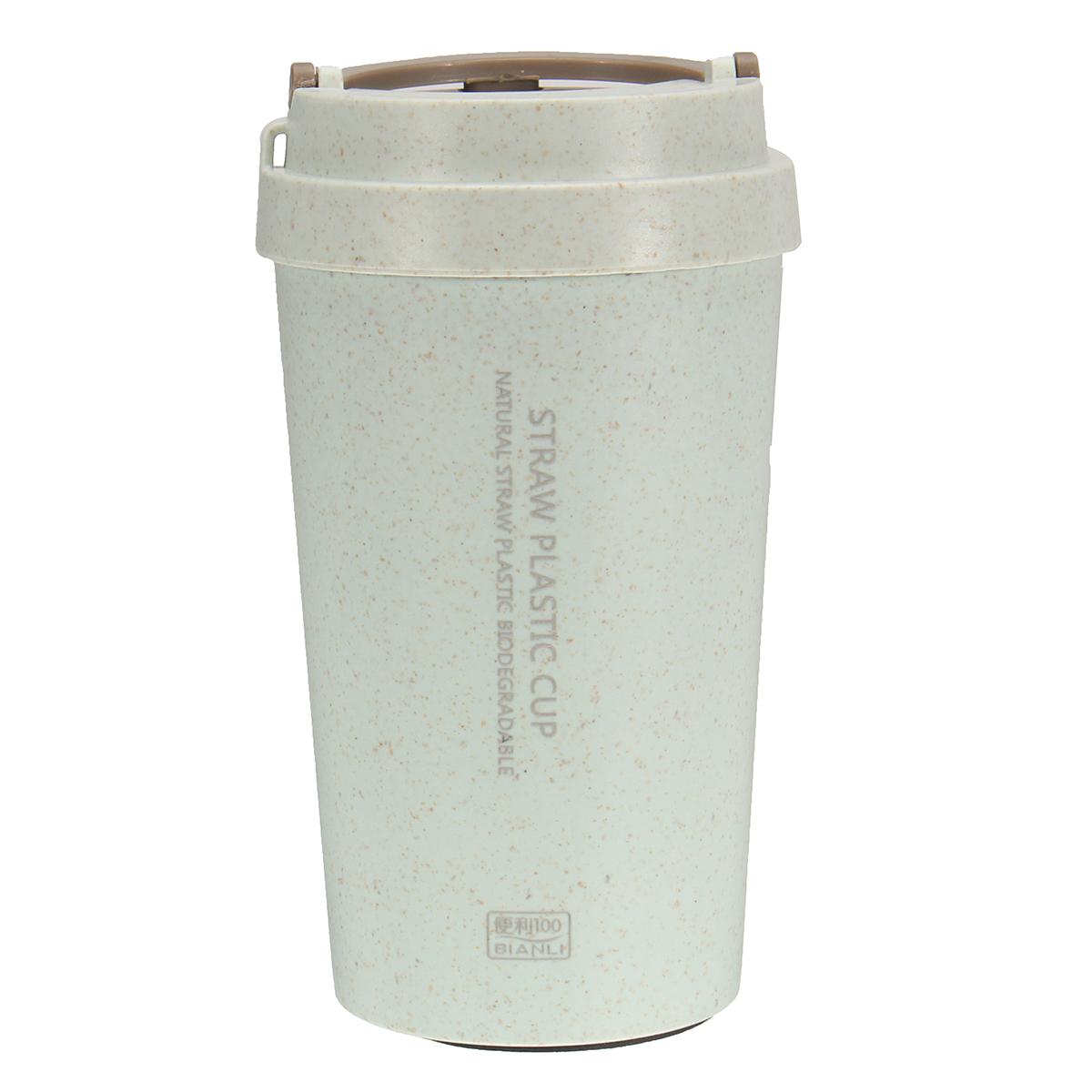 400LПшеничнаясоломеннаяпортативнаядвухстеннаявакуумная бутылка с чашкой кофе с изоляцией