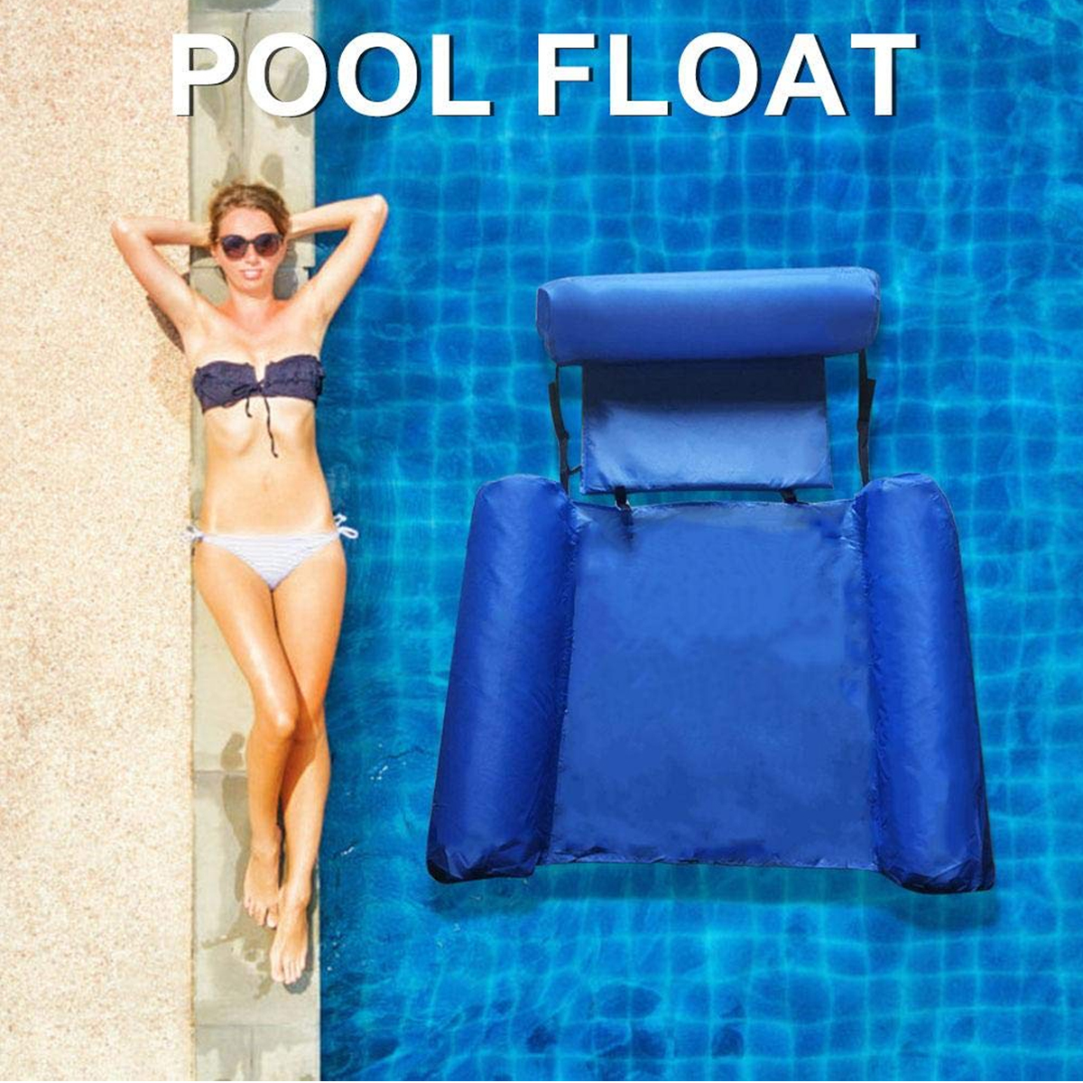 Water Lounge Chair Summer Swimming Inflatable Foldable Floating Row Backrest Air Mat Party Pool Toy 2