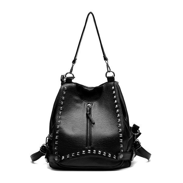 Women Casual Large Capacity Solid PU Shoulder Bags