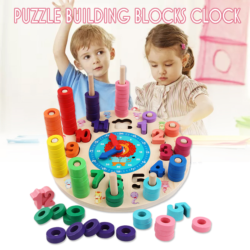 Wood Blocks Puzzle Board Set Wooden Toy 12 Numbers Clock Toy for Preschool Kid Learning Educational Toys for Number Counting Colors Stacking