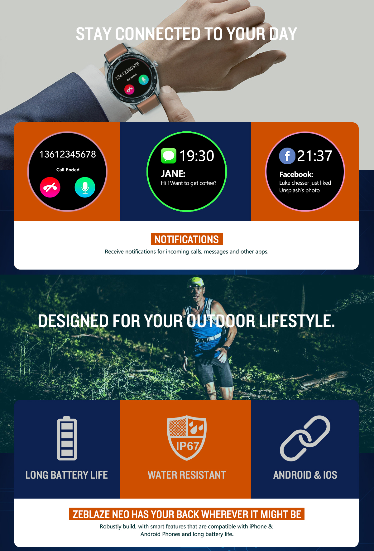 Zeblaze NEO 1.3inch Full-round Touch Screen Blood Pressure Heart Rate Monitor Female Physiological Check Countdown Stopwatch Silicone+Leather Band Smart Watch 19
