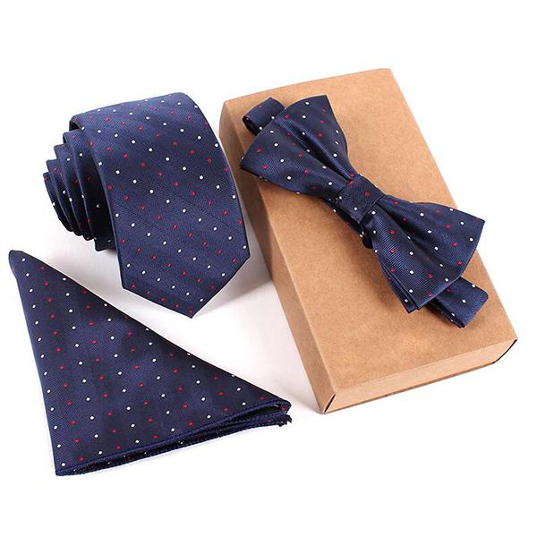 Мужская мода Деловые галстуки Шея Галстук-бабочка Галстук-квадрат Полотенце 3 части Party Tie