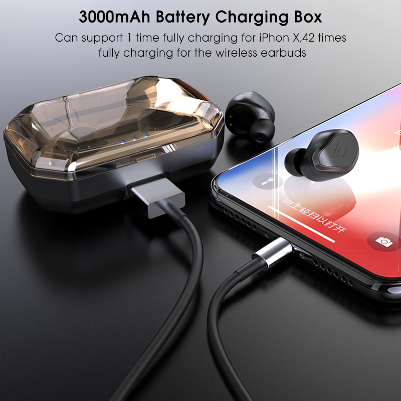 [bluetooth 5 0] TWS True Wireless Earphone CVC6 0 Noise Cancelling 3000mAh  Charging Box Power Bank