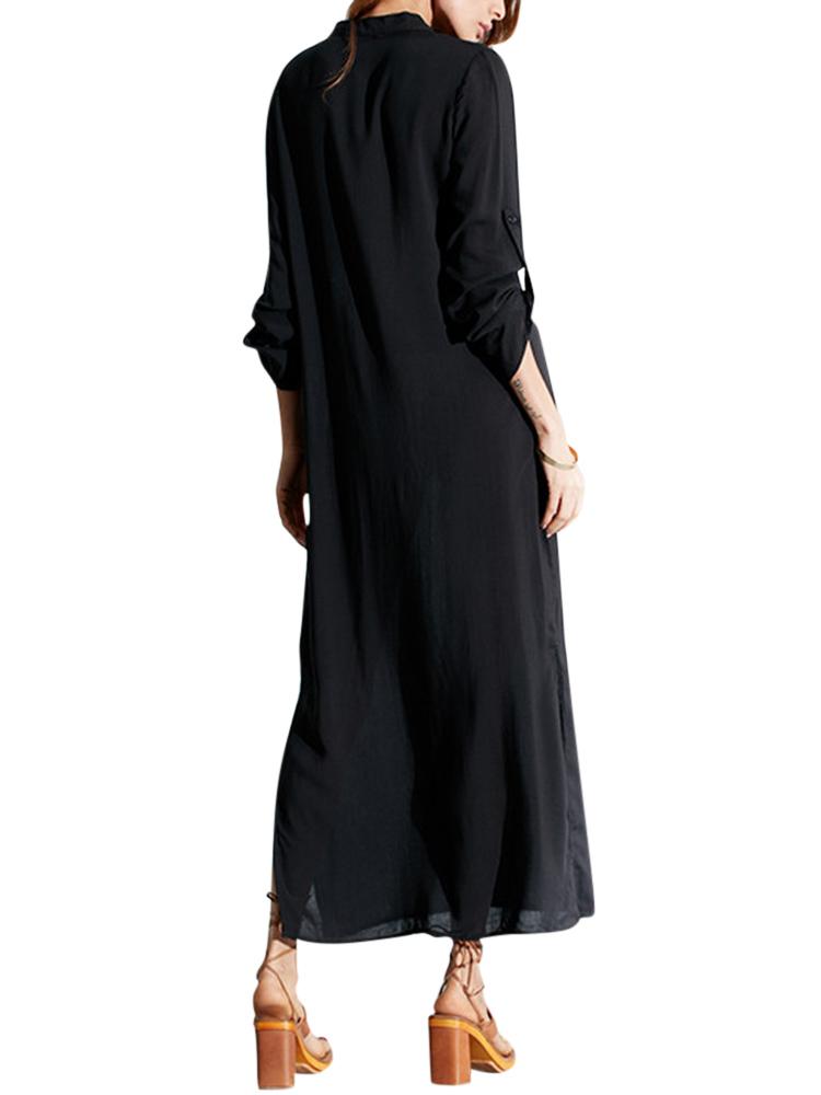 Women Pure Color Long Sleeve Long Shirt Dress