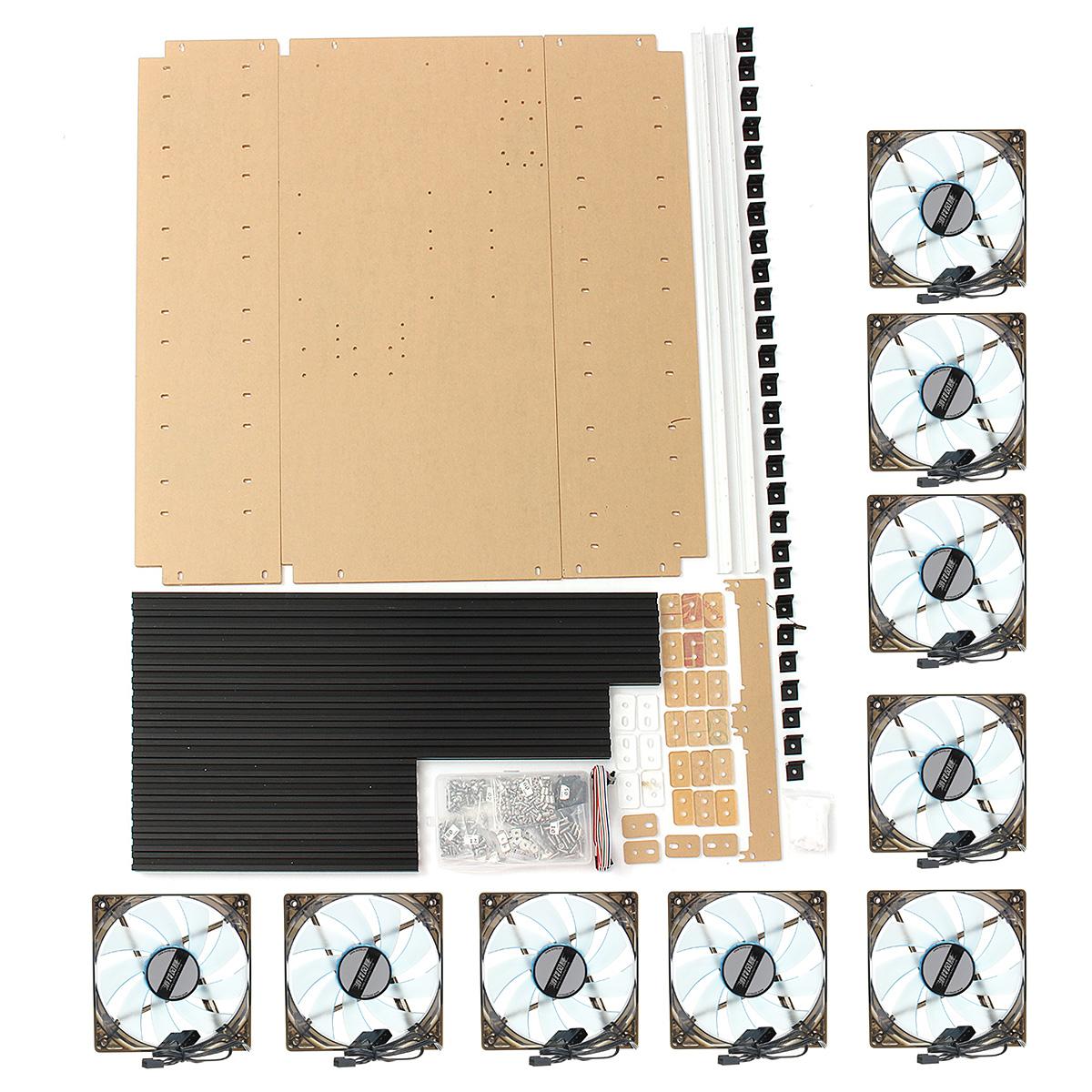 12 Gpu Aluminum Open Air Miner Frame Mining Rig Case Eth Btc Ethereum 10 Fans