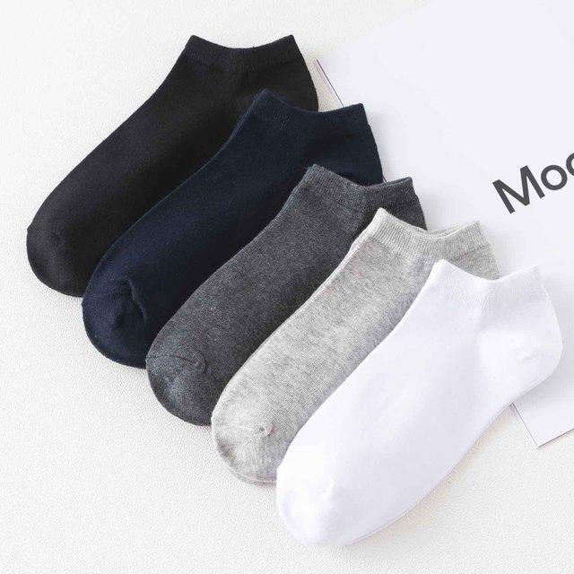 Mens Boat Socks Solid Color Versatile Cotton Socks
