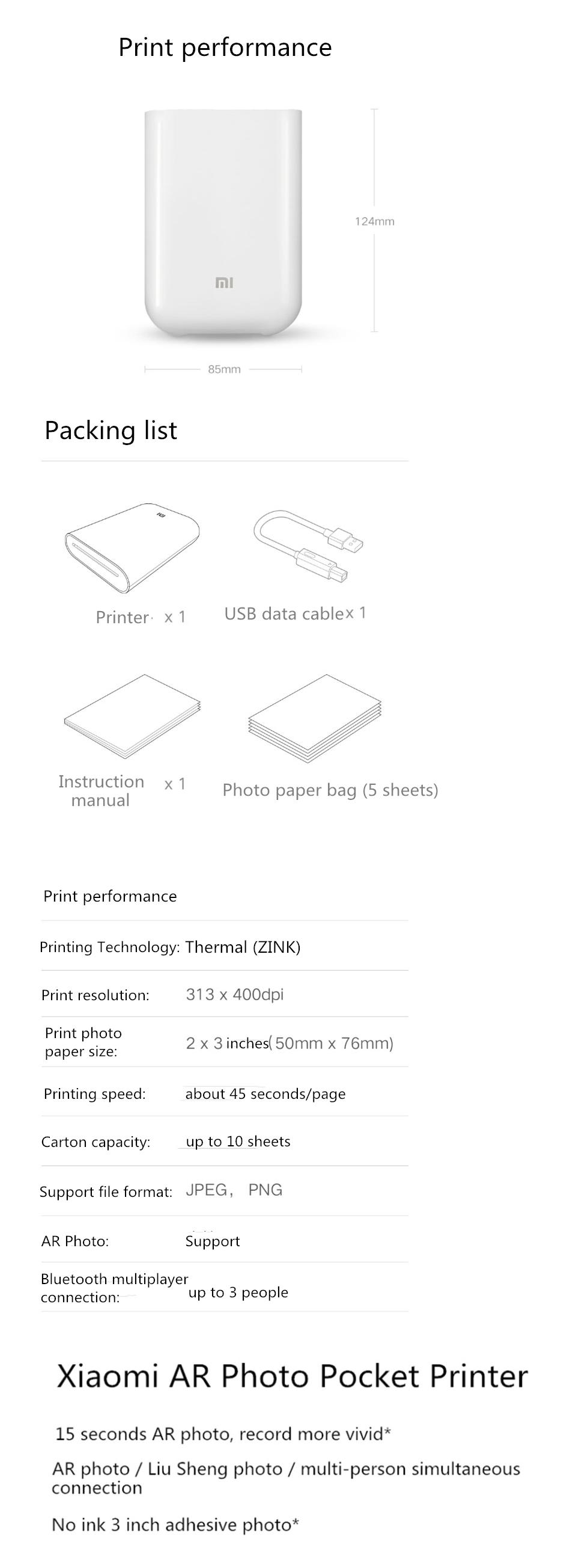 XIAOMI Pocket Photo Printer 3 Inch 300dpi AR ZINK Non-ink Mini Picture Printer bluetooth Connection 13