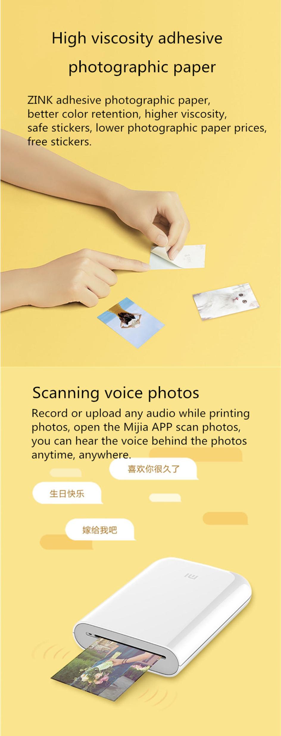 XIAOMI Pocket Photo Printer 3 Inch 300dpi AR ZINK Non-ink Mini Picture Printer bluetooth Connection 11