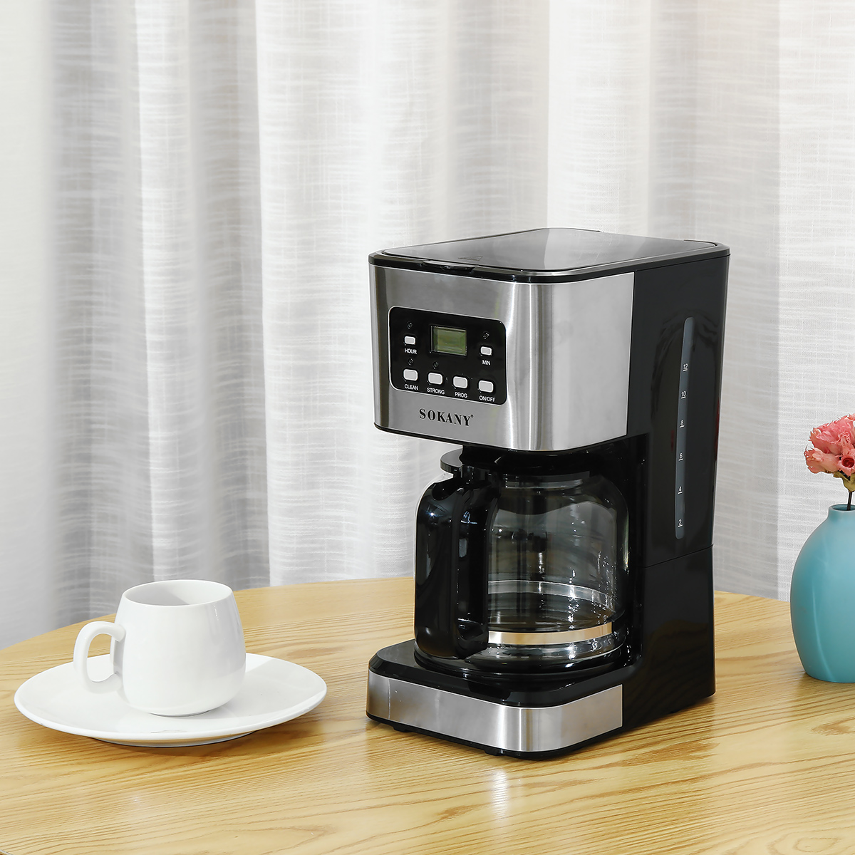 220V Coffee Maker 12 Cups 1.5L Semi-Automatic Espresso Making Machine Stainless Steel 16