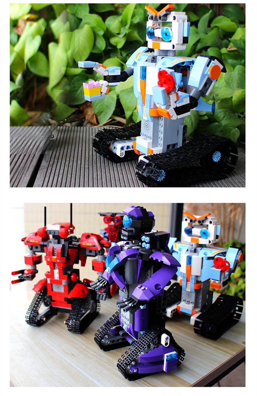 Mofun DIY 2.4G Block Building Programmable App/Stick Control Voice Interaction Smart RC Robot Toy Gift