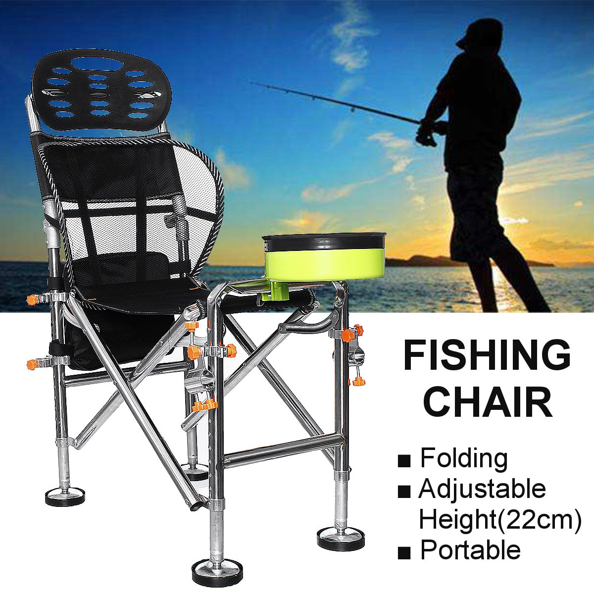 Marvelous Outdoor Portable Folding Chair Stainless Steel Fishing Seat Stool Adjustable Liftable 22Cm Camping Bbq Inzonedesignstudio Interior Chair Design Inzonedesignstudiocom