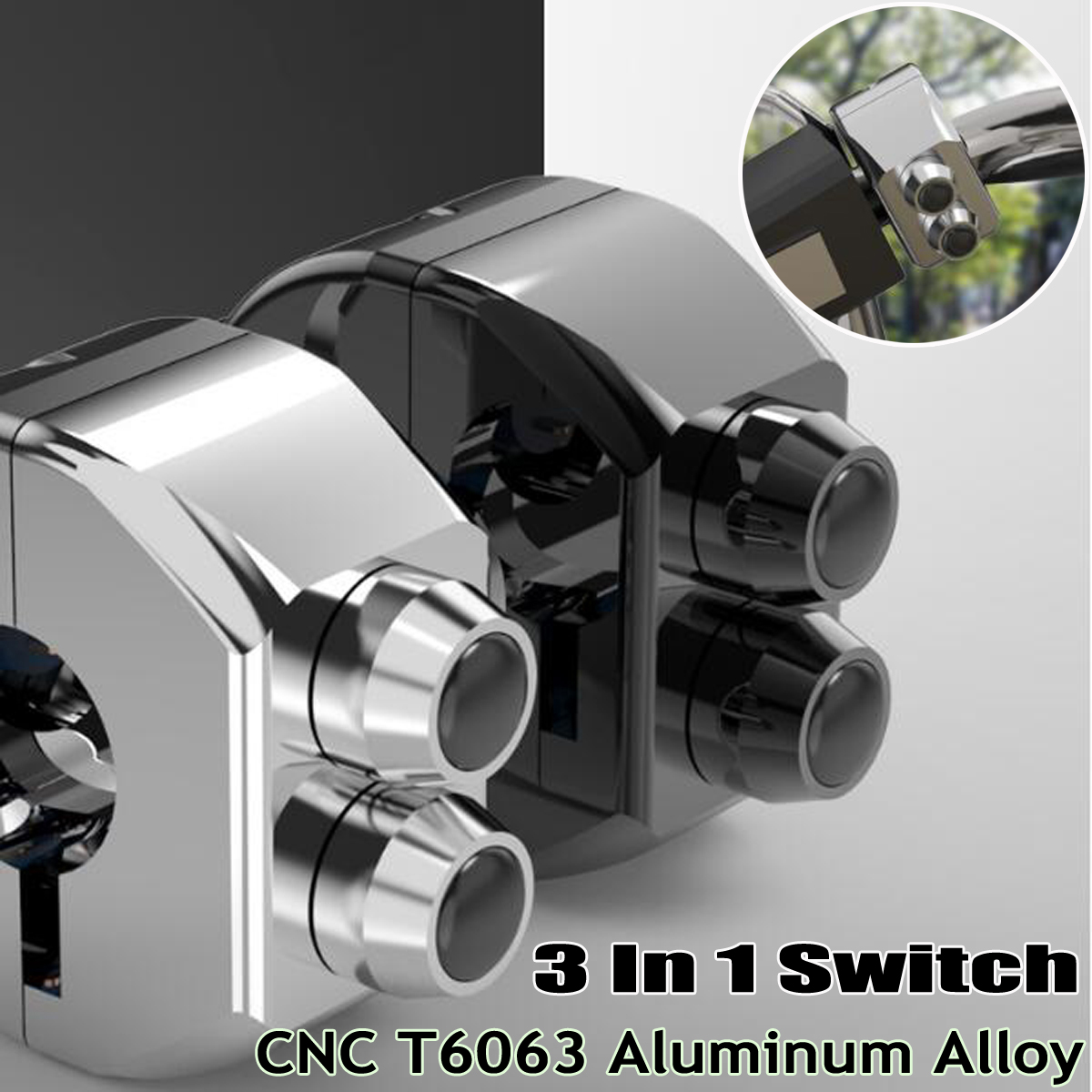 CNC Self Latching Switch Motorcycle Cafe Race Handle Grips Reset 3 Buttons Alloy